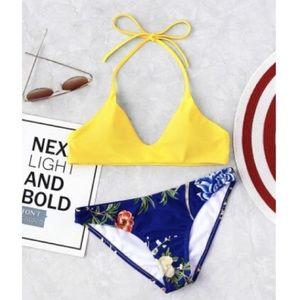 Yellow & Blue Floral Bikini Self-Tie